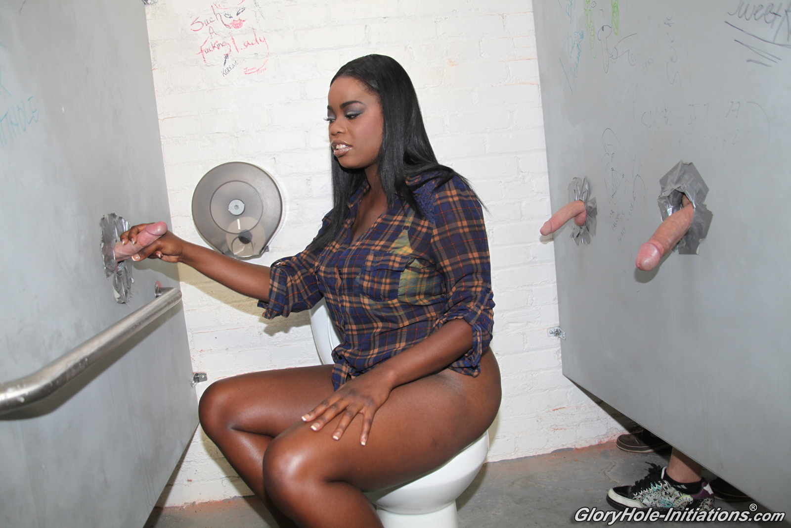 Black girls at glory hole