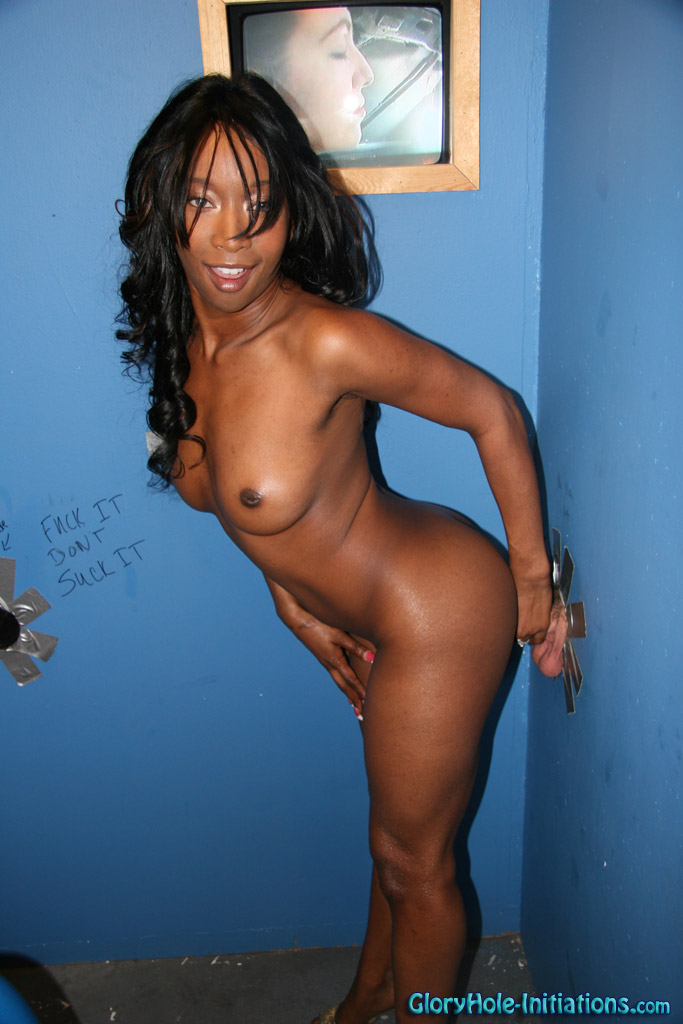 Black girl interracial gloryhole fuck & blowjob